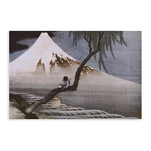 Landscapes Nature Volcanoes Boy on Mt Fuji by Katsushika Hokusai Canvas...
