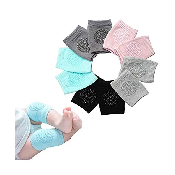 Truvic 3 Pairs Baby Knee Protection Pad for Kids Crawling, Anti-Slip Padded Stretchable Elastic Cotton Soft Breathable… 4 41NkClSE8BL
