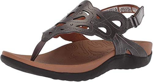 Rockport Women's Ridge Sling Sandal, Pewter, 9 W US