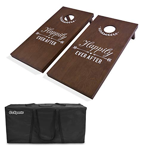 GoSports Wedding Corn Hole Set | Regulation Size with Solid Stained Wood Construction, CH-02-WS-WEDDING