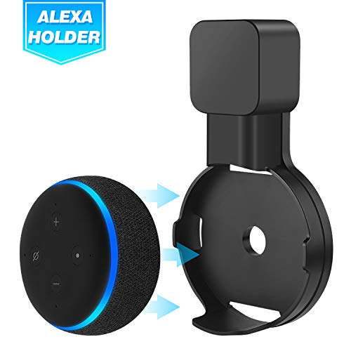 Echo Dot Wall Mount Holder for 3rd Gen, Amazon Echo Dot Alexa Outlet Holder Stand, A Space-Saving Echo Dot Accessories Without Messy Wires or Screws (Black, 1 Pack)