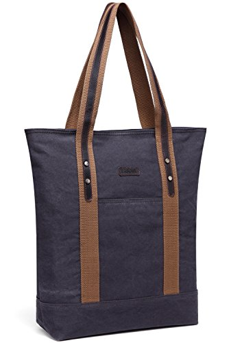 Canvas Tote Bag,Vaschy Large Vintage Shopper Travel Tote Wok Bag for Women with Leather Trim Strap Gray