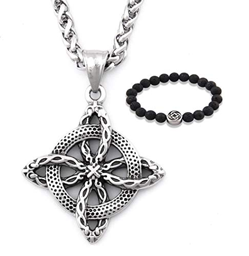 GUNGNEER Men Stainless Steel Irish Knot Shield Protection Pendant Necklace 20' 28' Keel Chain Celtic Jewelry Amulet