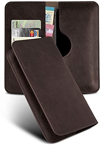 moex Excellence Line Handytasche kompatibel mit Microsoft Lumia 535   Hülle Dunkel-Braun - Mit Kartenfach und Geld + Handy Fach, Klapphülle, Flip-Hülle Tasche, Klappbar
