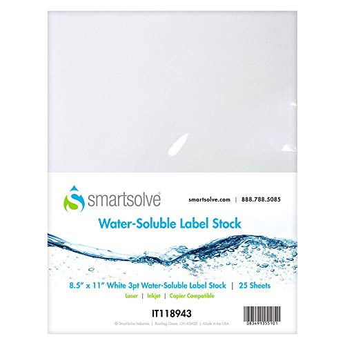 SmartSolve Water Soluble Label Stock – Biodegradable Adhesive Labels for Dissolvable Food Labels, Canning Labels, Hydro Dipping and Environmentally Friendly Packaging (8.5''x11'', Pack of 25)