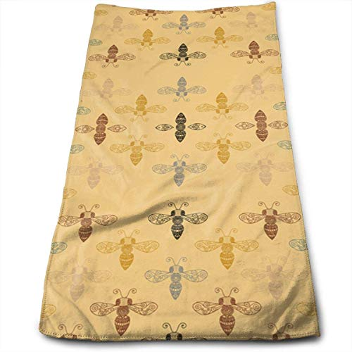 Ornate Bees with Gap Bath Towels for Bathroom-Hotel-Spa-Kitchen-Set - Circlet Egyptian Cotton - Highly Absorbent Hotel Quality Towels 12' X 27.5'
