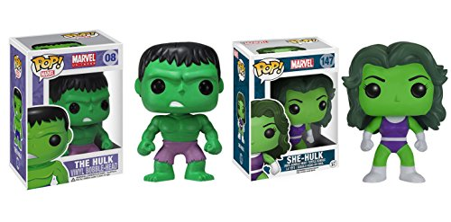 Funko POP Marvel Universe: The Hulk and She Hulk Bobble Head Toy Action Figure - 2 Piece BUNDLE by...