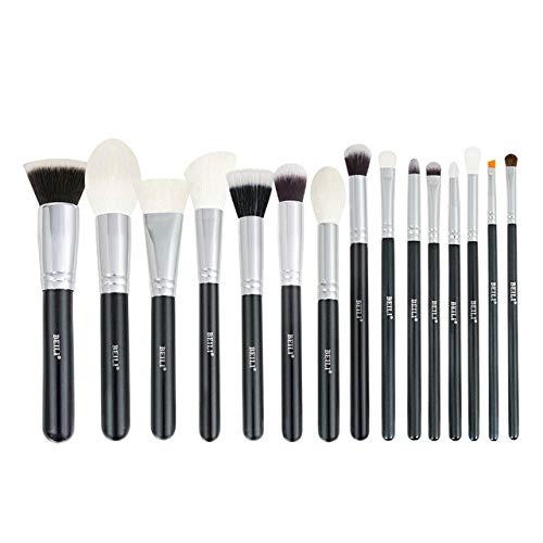 Ensemble de pinceaux de maquillage noir Brosses professionnelles en poils de chèvre naturels Fondation Poudre Contour Fard à paupières pinceaux de maquillage-15 A