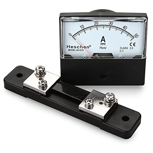 Heschen Medidor de amperímetro de panel rectangular montado DH-670 DC 0-50A Clase 2,0 con Shunt