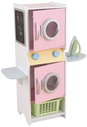 KidKraft Laundry Playset Children's Pretend Wooden Stacking Washer and Dryer Toy with Iron and Basket - Pastel