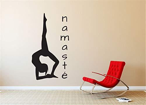 wandtattoo uhr gitarre Yoga-Haltungs-Schattenbild Namaste Kunst-Aufkleber für Yoga-Studio-Inneneinrichtung für Yoga-Studio