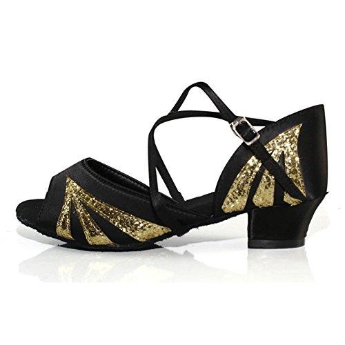 WYMNAME Mädchen Latin Tanzschuhe,Peep-Toe [leise unten] Internationalen Standard Gesellschaftstanz Schuhe Indoor-Sandalen-schwarz Fußlänge=17.8CM(7Inch)