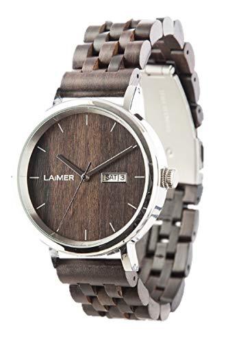 LAiMER Herren-Armbanduhr RAÚL Mod. 0063 aus Sandelholz - Analoge Automatikuhr mit Edelstahlgehäuse und Armband aus Holz - 21 Jewels