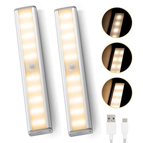 innislink Schrankleuchten LED, Schrankbeleuchtung mit Bewegungsmelder 2 Stück 30led Unterbauleuchte Küche Wiederaufladbar Schranklicht Nachtlicht für Schrank Kleiderschrank Zimmer Bad Flur- Warmweiß