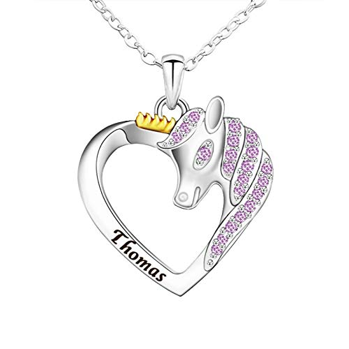 Necklace Unicorn Pendant Animal Head Colourful Heart Necklace with Name Thomas Emma Stainless Steel Fashion Jewellery Gift purple