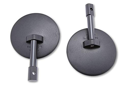 SHIN YO 301-077-100 Spiegelpaar für Lenkerende, E-geprüft, rund, Schwarz