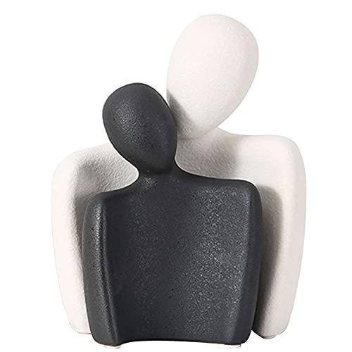 Vinbcorw Estatua de Amante - Estatuilla de Adorno de cerámica Abstracta de Arte - Escultura de Arte de Pareja romántica, decoración de estantería de Oficina en casa, celebración de Matrimonio,9