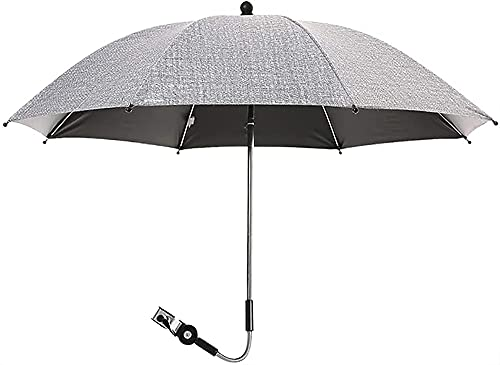 LIUPING Parasol Universal Parasol para Cochecito Y Cochecito - Protección Anti UV 50+, Flexible E Inclinable - Fijación Universal para Tubo Redondo U Ovalado (Color : Gray, Size : 75cm)