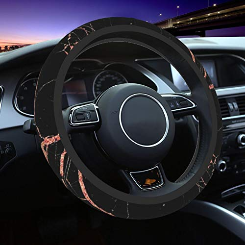 Black Rose Gold Marble Steering Wheel Cover for Women Men, Universal 15 Inch Anti Slip and Sweat Absorption Auto Car Wrap Cover, Fit Suvs, Vans, Sedans, Cars, Trucks