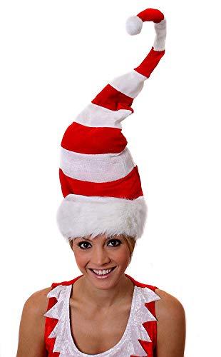 Cappello A Strisce Alto per Adulti - Cappello A Strisce Bianche E Rosse Alto 3FT/90CM con Filo, Rifiniture Bianche E Bobble Bianco - Accessorio Costume di Natale - Taglia Unica