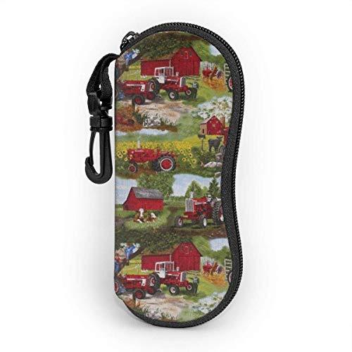 Sonnenbrille Brillenetui Traktor, Kinder, Tiere Tasche Kratzfest staubsichere Brillenbox mit Gürtelclip für Schlüssel, Bleistifte, Karten