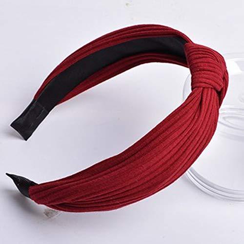 XJJZS Mujeres niñas Moda Arco Dulce Nudo Flecha impresión Hairband aro Diadema Simple (Color : D)