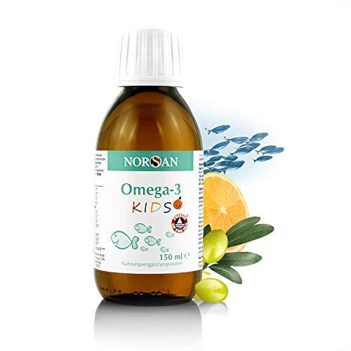 NORSAN Omega-3 KIDS I 1.120mg Omega-3 mit den Vitaminen A und E I flüssiges Omega-3 Öl für Kinder I 150 ml Flasche I Natürlich rein I Laborgeprüft