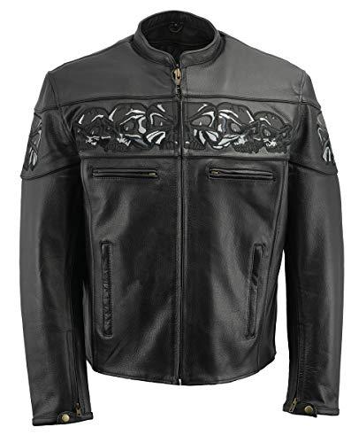 M Boss Motorcycle Apparel BOS11514 Men's Black Reflective Skull Premium Cowhide Leather Motorcycle Jacket - 2X-Large
