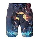 Inaayayi Ho-W-to-Tr-Ain-Yo-Ur-Dra-Gon - Pantalones cortos de playa para hombre, pantalones cortos clásicos de baño de secado rápido, con múltiples bolsillos y forro de malla