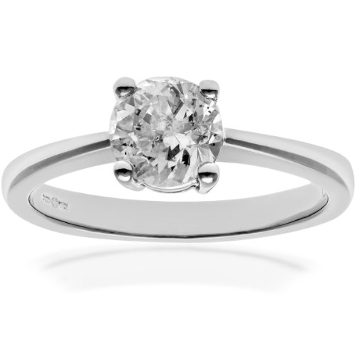 Naava Women's Round Brilliant 1.00 ct Diamond Platinum Solitaire Engagement Ring, IJ/I Certified - Size P