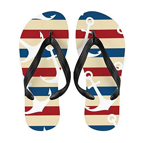 Anchor Flip-Flop Strand Sommer Hausschuhe Custom Haus Schuhe Sandalen für Damen Herren Nautische Retro Bicolor Streifen Rettungsring, Weiß - Nauti4 - Größe: Small