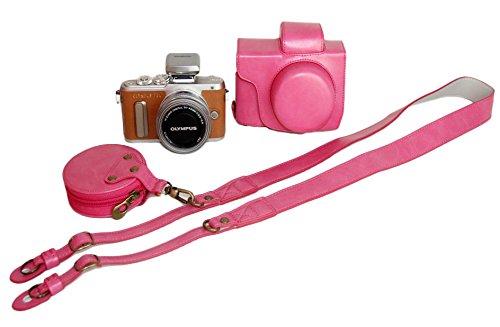 Unterseite-Öffnungs-Version Schützender PU-lederner Kamera-Kasten-Beutel Für Olympus PEN Lite E-PL8 EPL8 mit 14 - 42mm EZ F3.5-5.6 Objektiv mit Bügel-Gurt und Speicherkarten-Kasten-Rosa