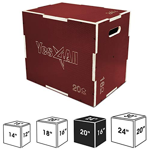 """Yes4All Non-Slip Wooden Plyo Box 24"""" 20"""" 16"""" - Red"""
