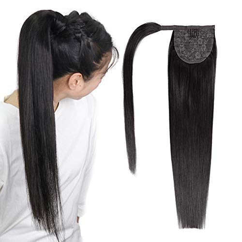 Ponytail Extensions Echthaar Zopf Haarverlängerung Wrap Around Günstig Pferdeschwanz Clip in Extensions Natürlich Weich Haarteil 35 cm 60 Gramm Schwarz