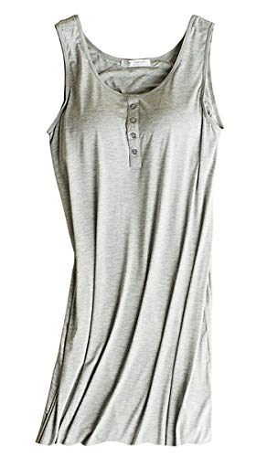 Women's Modal Shelf Bra Sleepwear Stretch Chemise Nightgown Full Slip Lounge Dress Grey