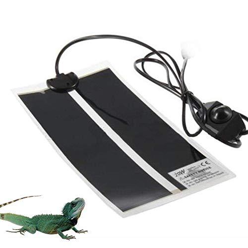 Volwco Tapis Chauffant pour Reptiles, 20W Tapis Chauffant De Réservoir Ajustable avec Régulateur De Température pour Tortues, Serpents, Lézards, Geckos, Araignées