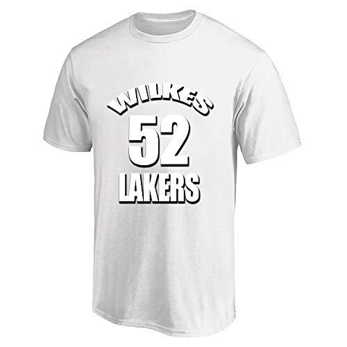 W&F Jamaal Wilkes # 52 Camiseta de Manga Corta Camisetas Deportivas para Hombre Algodón Manga Corta Camiseta de Baloncesto S-XXXL (Color : White, Size : XX-Large)