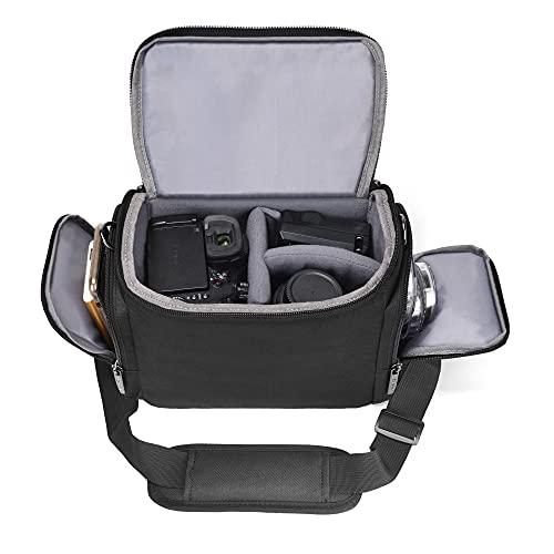 Cwatcun Shoulder Camera Bag Water Resistant Camera Bag Case for Nikon Canon Sony Pentax Olympus Panasonic Samsung Mirrorless SLR DSLR Photography Lens Accessories Large Black