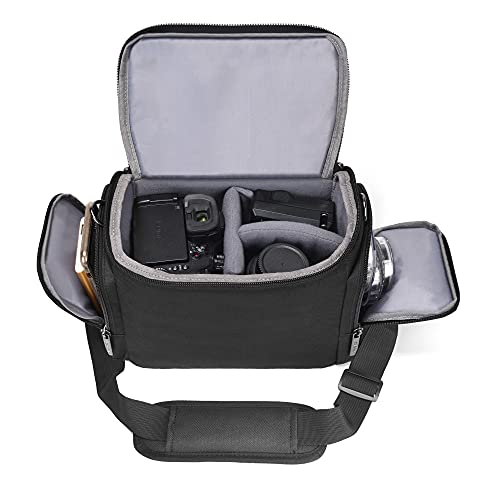 Shoulder Camera Bag Cwatcun Water Resistant Camera Bag/Case for Nikon Canon Sony Pentax Olympus Panasonic Samsung & Many More SLR DSLR and Photography Accessories Large Black
