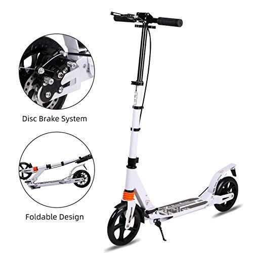 H.yeed 200mm City Scooter für Erwachsene&Kinder, Klappbarer City-Roller mit Doppel Federung, klappbar und höhenverstellbar Kickscooter Tret-Roller