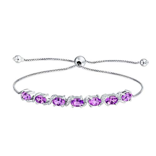 9.25CT púrpura púrpura amatista ovalado o tanzanita natural Zircon Bolo pulsera de tenis para mujer 925 plata de ley ajustable
