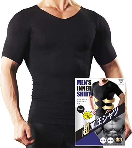 スパルタックス 加圧シャツ メンズ 加圧インナー 半袖 vネック 機能性インナーシャツ コンプレッション (ブラック(黒), L)