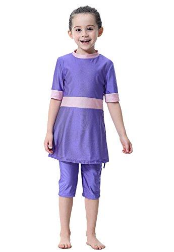 GladThink Mädchen Muslim Bescheiden Halbe Ärmel Bademode Strandkleidung Lila #150