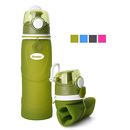 Kemier Collapsible Silicone Water Bottles-750ML,Medical Grade,BPA Free.Can Roll Up,26oz,Leak Proof Foldable Sports & Outdoor Water Bottles (Green)