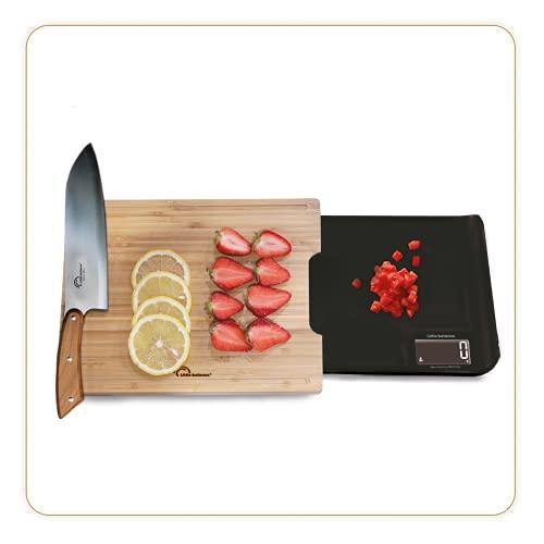 LITTLE BALANCE 8399 Chef 5 Trio USB - Balance de cuisine - Rechargeable USB - Balance 3 en 1 : Coupez, pesez, versez, tout en une seule balance de cuisine !! - 5kg / 1 g - Bambou véritable