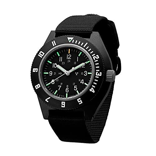 Marathon Watch Sapphire Navigator Swiss Made Military Issue Pilot's Watch with Tritium, Sapphire Crystal, Steel Crown, Battery Hatch, ETA F06 Movement (41mm) (Black - Sterile Dial)
