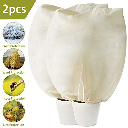 2pcs hiver plante protection des arbres couvre sacs gel chaud couverture de gel protecteur de protection pour l'extension de la saison par temps froid 39 x 63 pouces