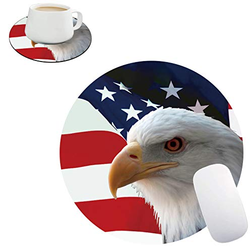 Round Mouse Pad and Coasters Set, American Flag and Goshawk Mousepad, Non-Slip Rubber Round Gaming Mouse Pad, Customized Mouse Mat for Home Office Business Gaming
