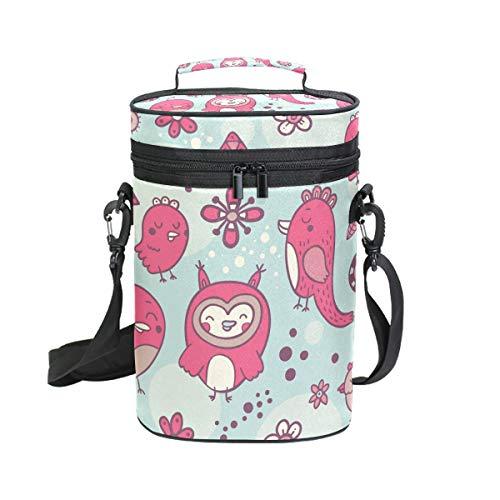 Malplee Weintasche Happy Pink Birds für 2 Flaschen Weintragetasche, ideal für Reisen, Events, Strand, Pool, Picknick
