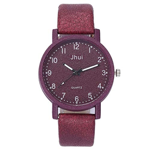 Women's Casual Quartz Analog Watch Leather Band Stainless-Steel Strap Watch Easy Reader Wrist Watch (Red)